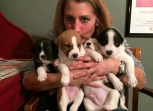 Elaine with puppies